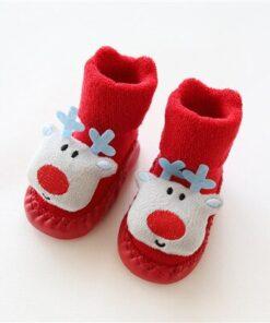 Chaussettes de Noel pour Bébé Renne Bleu
