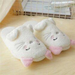chausson chat femme de face