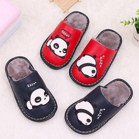 chausson cuir panda rigolo