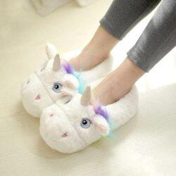 chausson enfant femme licorne blanc