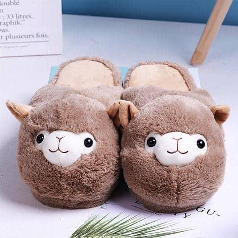 chausson lama marron