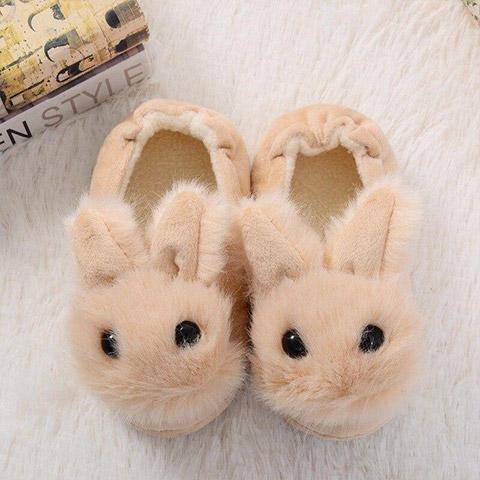 chausson lapin bébé naturel dessus