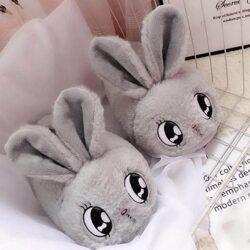 chausson lapin enfant femme gris