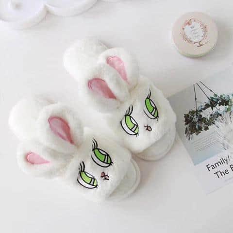 chausson lapin femme ouvert blanc