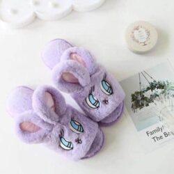chausson lapin femme ouvert violet