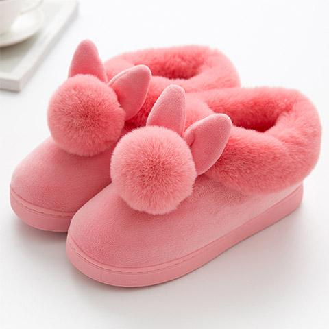 chausson lapin pompon rose flashy
