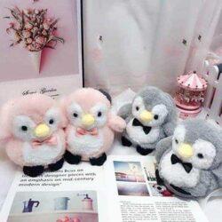 chausson pingouin gris et rose