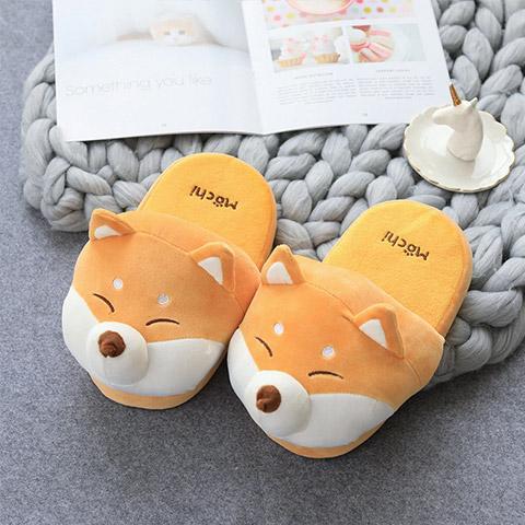 chausson rigolo couple chien kawaii shiba inu