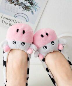 chausson vache rigolo femme