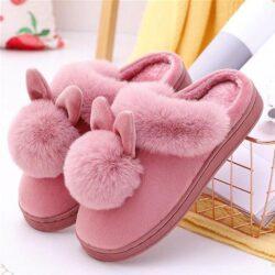 pantoufle lapin pompon rose