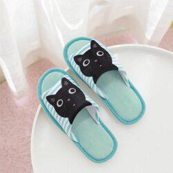 pantoufle chat noir