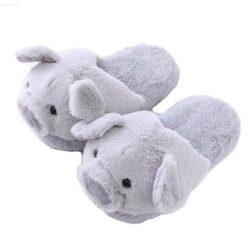 pantoufle cochon gris