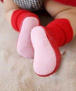 pantoufle de noël pour bébé chaussettes semelle