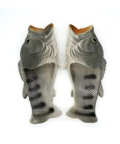 pantoufle poisson gris